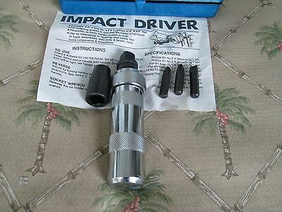 Vintage  IMPACT TYPE DRIVER  WITH  4 Bits and Original Metal Case+INSTRUCTIONS