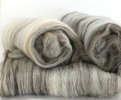 Natural - Hand Carded Batts Shetland, Jacob, Camel, Merino 300g