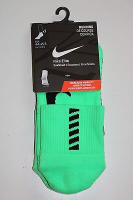 Nike Elite Cushioned Visibility Running Green Dri Fit Socks Eur44-45.5 Uk 9-10.5