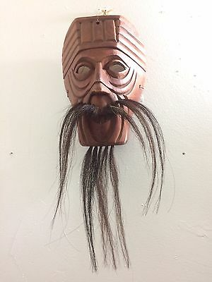 Vintage Japanese All Wood Hand Carved Noh Mask With Horse Hair Beard & Mustache