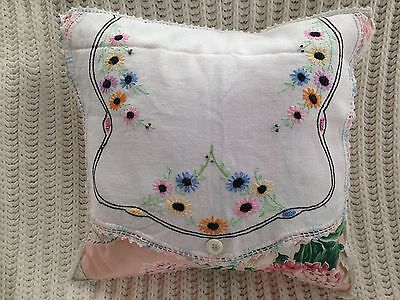 """Vintage Embroidered Linen & Fabric Pillow 16"""" With Chenille Back"""