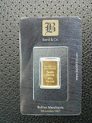 *new * 1/10 Ounce Solid Gold Baird & Co Bullion Bar, Brand New