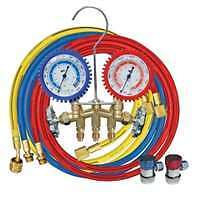 Brass R134A 2 Way Manifold Gauge Set with 72' Hoses