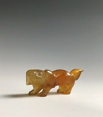 A Miniature Hardstone Agate Glass Carving Of A Foo Dog