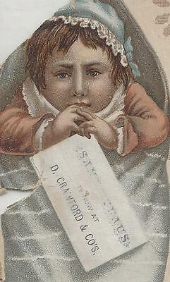 Calendar pic.1888? D. Crawford & Co St Louis ~Antique Doll in Christmas Stocking