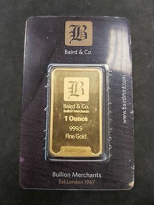 * New * 1 Ounce Solid Gold Baird & Co Bullion Bar, Brand New