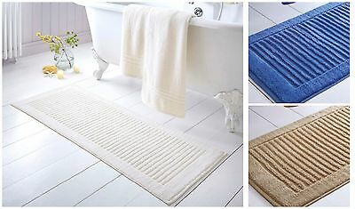 Extra Long Bath Mat Thick Towelling 100% Cotton L120 x W50cm Cream Blue Latte
