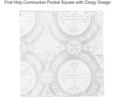 Boys First Communion White Pocket Square, Boys Handkerchief, Pocket Handkerchief