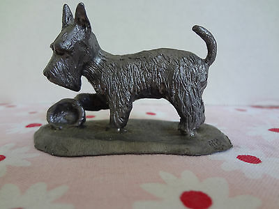 Scotty Dog Figurine Playing  with bowl Scottish Terrier Dog signed KB Pewter