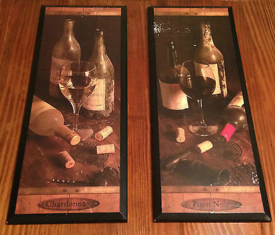 Two Kitchen Wall Decor Signs Chardonnay & Pinot Noir