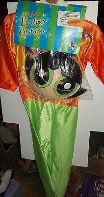 halloween POWER PUFF GIRLS SMALL CHILD 4-6 COSTUME old fashioned MASK NIP  2000