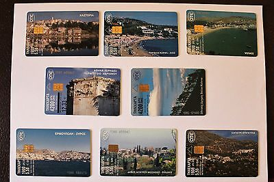 8 Greek Phonecards Used - High Values - Rare!