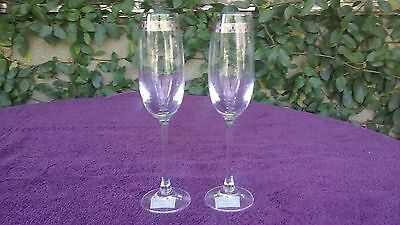 """Miller Rogaska Crystal Checkered Accent Wine Champagne Flute Reed & Barton 9.25"""""""