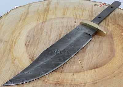 """11"""" Damascus Clip Point Bowie Blank Custom Knife Making Skinning Hunting Blade"""