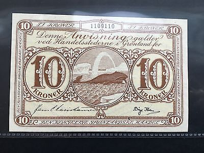 GREENLAND ND (1953) 10 KRONER banknote paper money HUMPBACK WHALE XF-AU RARE