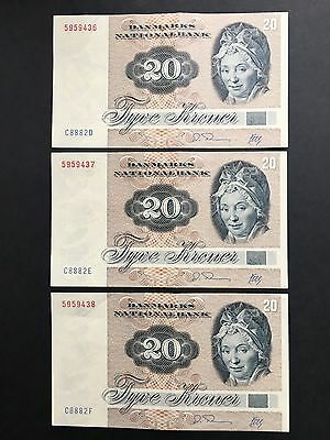 Denmark 1988 (series 1972) lot (3) 20 kroner banknotes CONSECUTIVE numbers AU