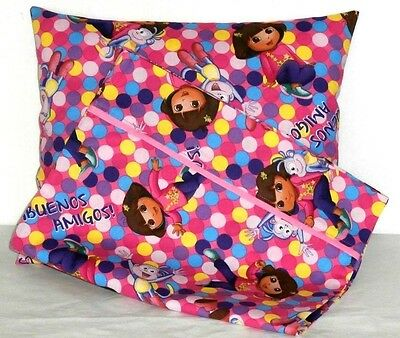 Dora Toddle Pillow and Pillowcase set on Pink Cotton D23-2 New Handmade