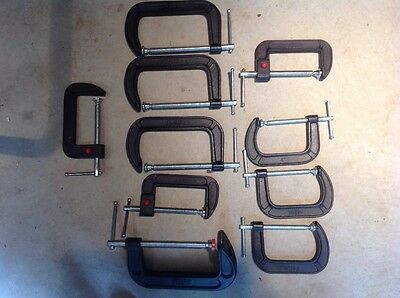 "Lot of Bessey c-clamps.6-4"" and 4-6""."
