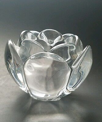 Holmegaard Candle Holder Clear Glass Tealight Votive Lotus Crystal Tulip Rose