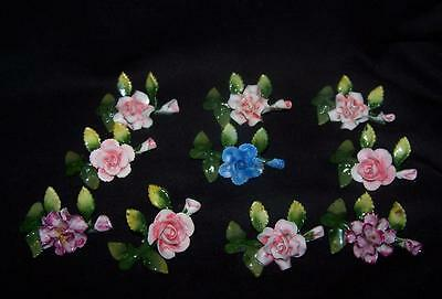 Antique German Wedding Place Card Holders Roses,carnations, Germany 10  Pcs