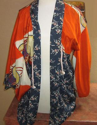 Antique Japanese Geisha  Kimono Haori Jacket Silk Flower Cosplay