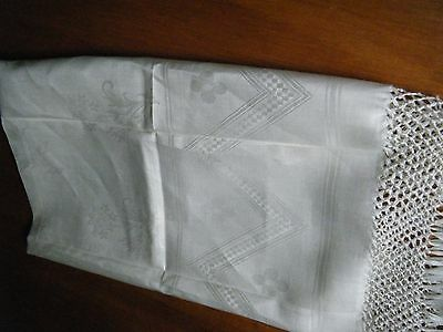 Old antiuque 1930 guest towel Linen Damask with  fringes Italy