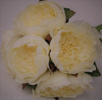 Silk Wedding Bouquet Ivory Peonies Peony Roses Flowers Bouquets Flower Posy Fake