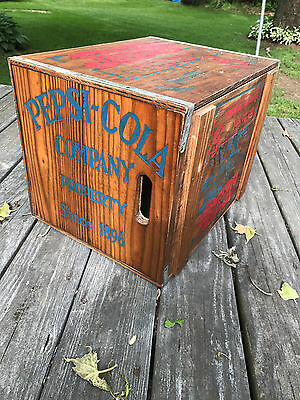 """Vintage Pepsi Cola Wood Crate Box Magnetic Lid """"Hits The Spot Down On The Beach"""""""