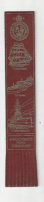 King Georges Fund for Sailors. Burgundy Leather English Bookmark.