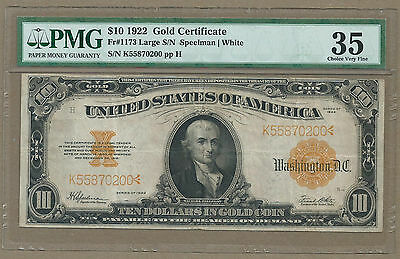1922 $10 Gold Coin <<< Gold Certificate >>> Certified By Pmg 35