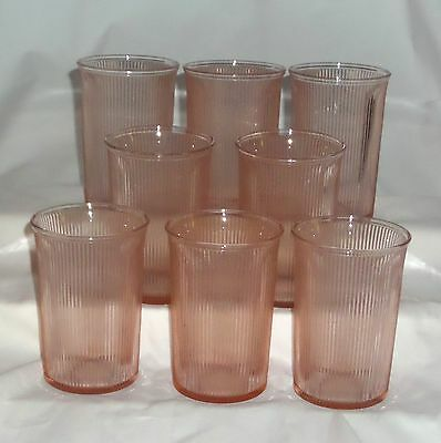 "8 Jeannette HOMESPUN PINK *4 1/8"" FLARED WATER TUMBLERS w/PLAIN BOTTOM*"