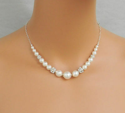 Bridal white Pearl chain Necklace - with the choice of stunning Backdrop chain
