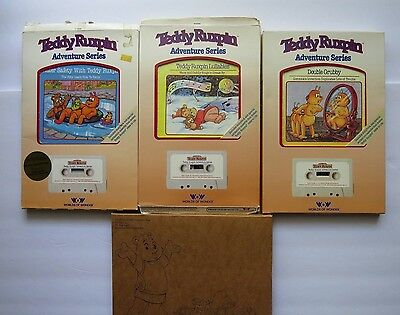 Vintage Teddy Ruxpin Cassette Tapes And Books Lot Of 4 Set Greatest Hits