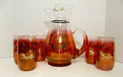 6 PC Vintage Blendo West Virginia Glass Cranberry 40th Anniversary Pitcher Set
