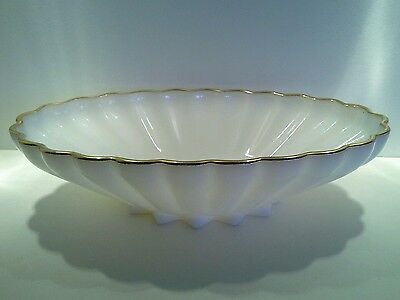 Large Vintage Scalloped Milk Glass Master Bowl with Gold Trim