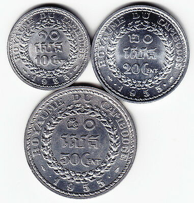 CAMBODIA 1953 Complete 3-coin Set KM51-53 Al 1yr types TOP GRADE - RARE as a SET