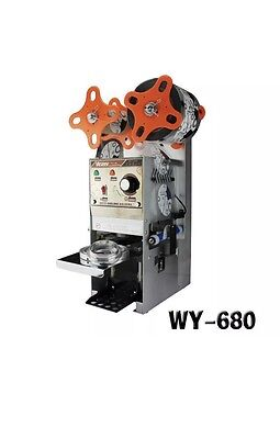 WY-680 Semi-automatic 110V Bubble Tea Cup Sealing machine Juice Cup Sealer NEW