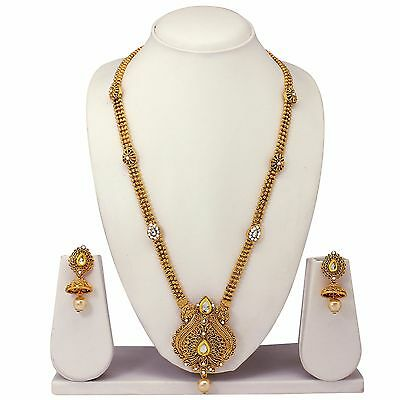 Indian Bollywood Bridal Gold Plated Wedding,Temple Jewelry Necklace Earrings Set