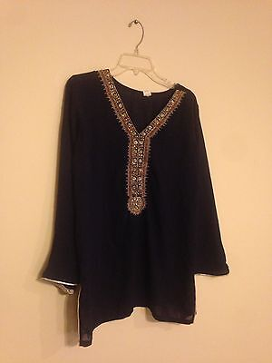 Designer Paki Indian Desi Top Blouse Kurta Kurti Tunic Navy Blue Plus Size L