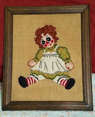 Raggedy Ann Vintage Framed Hand Crafted Needlework Embroidery Latch Hook Canvas