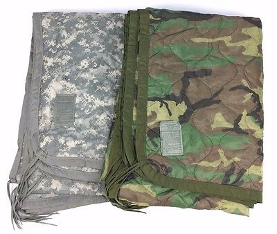 US Army Wet Weather Poncho Liner Woodland ACU Woobie Blanket USGI EXC