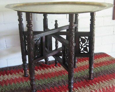Antique Brass Tray Table