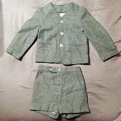 Vintage 40's Boys Gray Wool High Waisted Shorts Suit Children's Doll Toddler