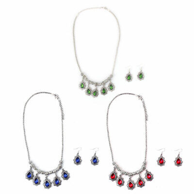 Women Metal Retro Style Pendant Bib Collar Charming Choker Necklace Earrings Set