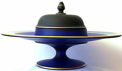 Art Deco/Streamline era serving dish with built in covered bowl.