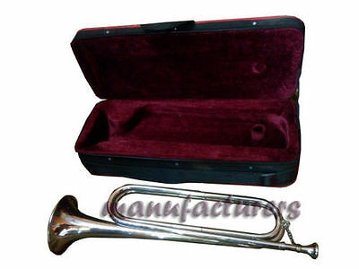Trumpet Bugle Bb Pitch^brass_Made Chrome Finish Nice Sound With Case
