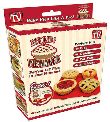 Non-Stick My Lil' Pie Maker with Bonus 2 Pie Cutters & Recipe Guide Pack of 2