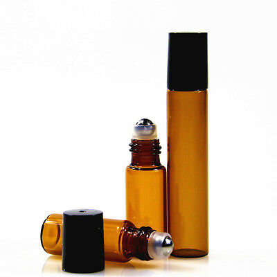 10Pcs 5ml 10ml Amber Roll On Glass Bottles Roller Ball For Perfume Essential Oil