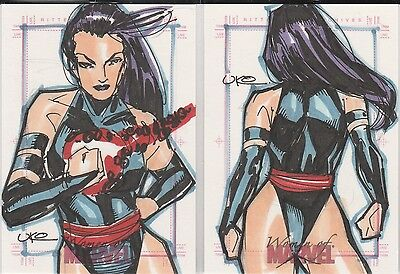 2008 Women of Marvel PSYLOCKE sketch LOT of TWO (2) cards by Uko Smith