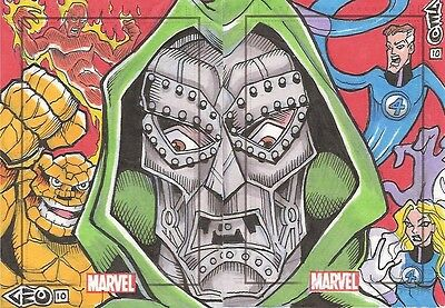 Marvel Heroes & Villains FANTASTIC 4 & DR. DOOM Puzzle sketch George GEO Davis